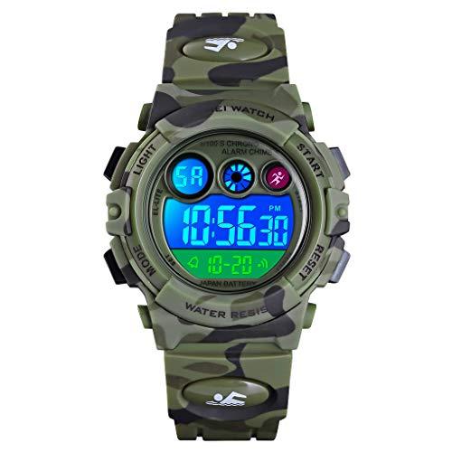Reloj niños, Reloj para Niños Digital Sport Multifunción Cronógrafo LED 50M Impermeable Alarma Reloj analógico Camuflaje Militar para Niños con Banda De Silicona Ejército