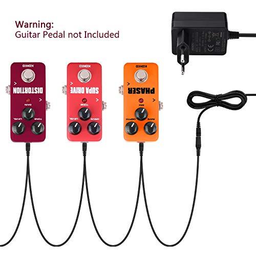 Aukru 9V DC adaptador de fuente de alimentación pedal de efecto de guitarra con 7 vías cables - negro