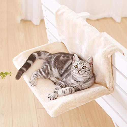 YOHAPPY Cama radiador para mascotas, para gatos y perros, cálida y acogedora, estilo hamaca para colgar, para mascotas, gatos y cachorros (beige)