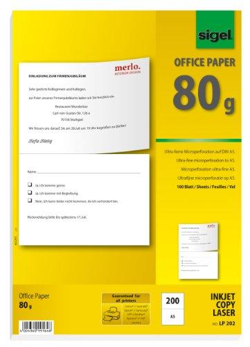 SIGEL LP202 Multifunktions-Papier weiß, 80 g, A4, perforiert auf A5, 100 Blatt