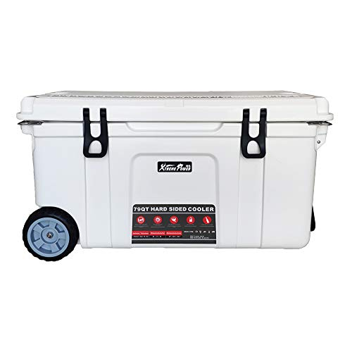XtremepowerUS 79-Quart Heavy Duty Rolling Ice Chest Cooler w/Wheels Rotomolded Insulated Cup Holder Outdoor Activities with Bottle Opener, 79QT -White