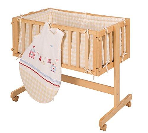 roba Berceau cododo 'Room & Cradle', bois laqué en blanc, utilisable comme cododo et comme berceau avec roulettes, matelas inclus, avec tour de lit et gigoteuse 70cm de la collection 'Sunny Day'.