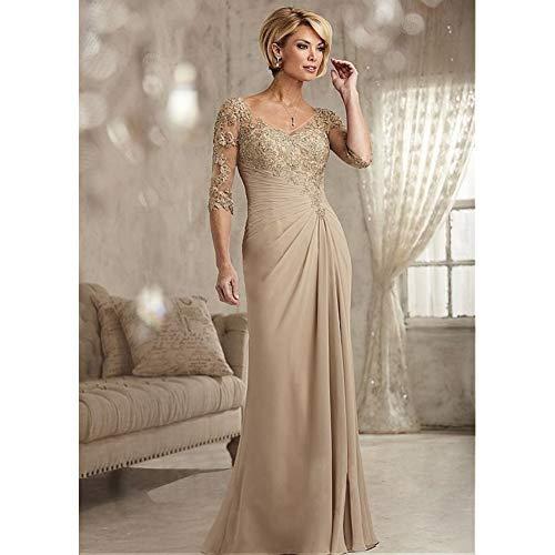 BINGQZ Cocktailkleider/Champagne V-Ausschnitt Applikationen A-Linie Kleider für die Brautmutter Übergrößen Langes Abendkleid Kleid für die Brautmutter