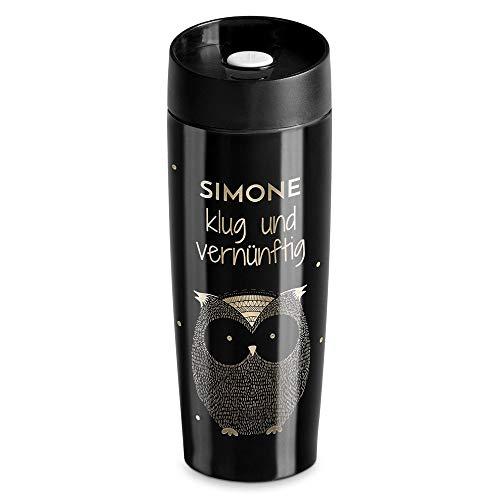 Murrano Thermobecher Kaffeebecher 350 ml - Isolierbecher personalisiert auslaufsicher - 100% dicht - Quick-Press-Verschluss - aus Edelstahl - Geschenk für Frauen - schwarz - Eule