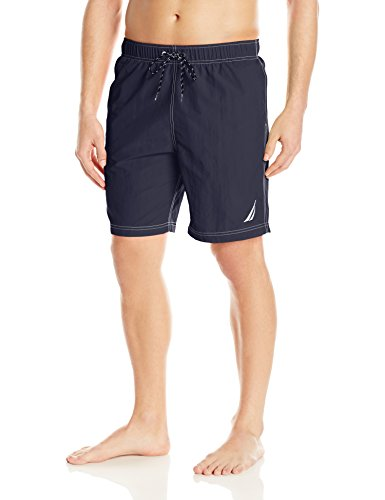Nautica Men's Standard Solid Quick Dry Classic Logo Swim Trunk, Navy, Small