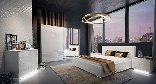 LUK Furniture LINA II Schlafzimmer Komplett Set Komplettprogramm Weiß Hochglanz mit Bett Schrank Kommode und Nachtschränke 4-teilig Spiegel Schwebetürenschrank (180 x 200 cm, 244)