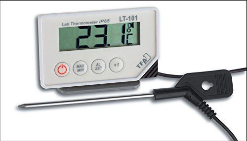 TFA Dostmann LT-101 professionele digitale thermometer, met steeksensor, optisch en akoestisch alarm, afwasbaar, ideaal voor professioneel gebruik