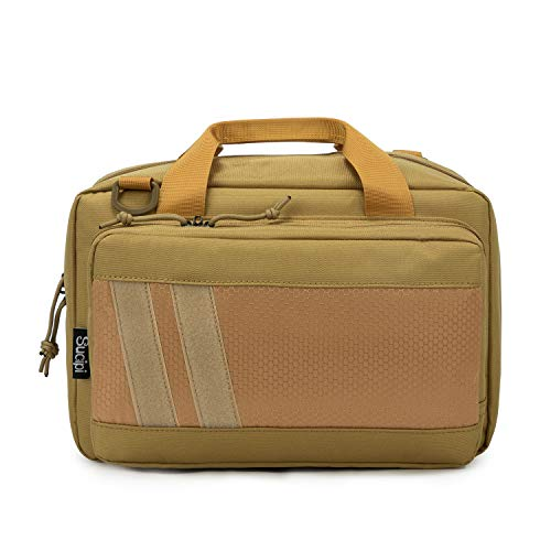 Sucipi Gun Case Soft Pistol Bag with Lock Hunting Shooting Range Bag for Handguns Gun Bag for 2 Guns and 9mm Ammo