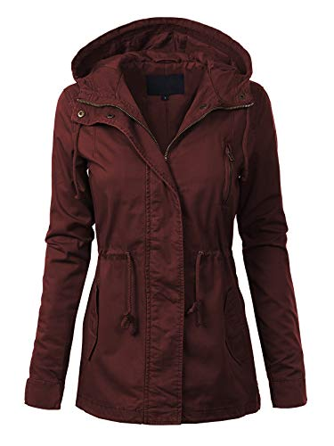 MixMatchy Women's Casual Lightweight Militray Safari Anorak Utility Hoodie Jacket Burgundy 2XL