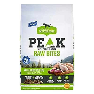 Rachael Ray Nutrish PEAK Natural Dry Dog Food with Freeze Dried Raw Bites, Wetlands Recipe with Chicken & Duck, 23 Pounds, Grain Free