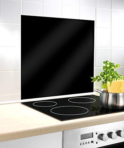 WENKO Fond de hotte, Crédence Cuisine, Noir, Protection antiéclaboussures, Verre trempé, 60 x 70 cm