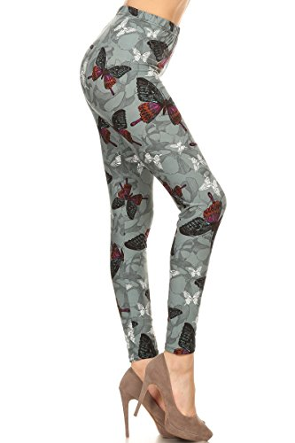 R783-EXTRAPLUS Butterfly Charm Print Leggings