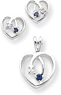 Sterling Silver Polished Post Earrings Rhodium-plated Blue Clear Cubic Zirconia Heart Earrings Pendant Set