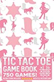 Tic Tac Toe Game Book 750 Puzzles: Pink Cowgirl Horse and Boots Theme With Instructions and Scorecard Travel Size