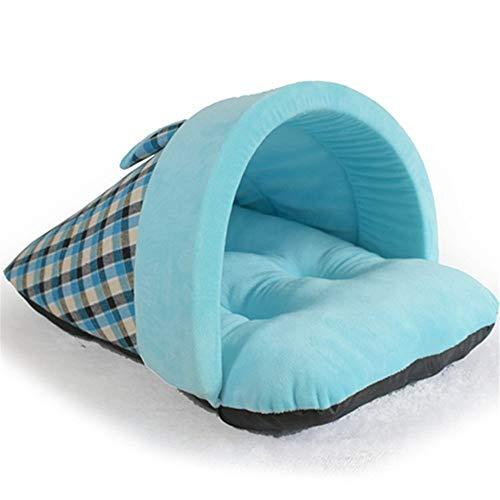 GYK Boutique Haustierbett, Hausschuhe im englischen Stil für Haustiere, blaues Plaid, M