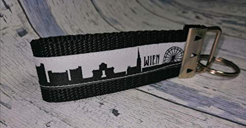 Schlüsselanhänger Schlüsselband Wien Österreich Hauptstadt skyline schwarz Geschenk zum Umzug Männer Frauen