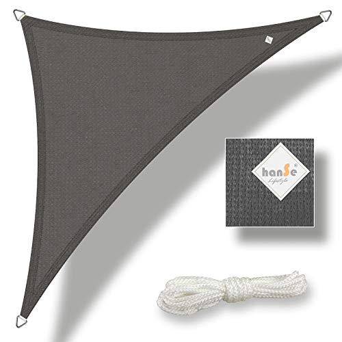 hanSe® Marken Sonnensegel Sonnenschutz Wetterschutz Wetterbeständig HDPE Gewebe UV-Schutz Dreieck 4,5x4,5x4,5 m Graphit