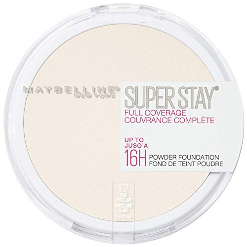 Maybelline New York Super Stay Full Coverage Powder Foundation Makeup, 102 Fair Porcelain, 0.18 Oz