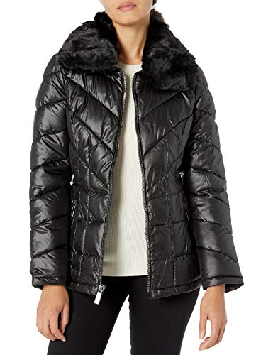Kenneth Cole New York Women's Zip Front Puffer with Faux Fur Collar, Black, Medium