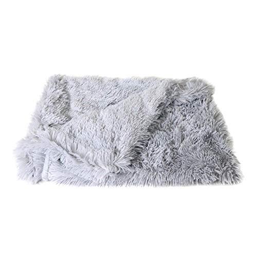 HMJ Long Plush Pet Dog Bed Blankets Cat Sleeping Mats Puppy Winter Warm Thin Beds Cushion Soft Covers,Light Gray,M 78x54cm