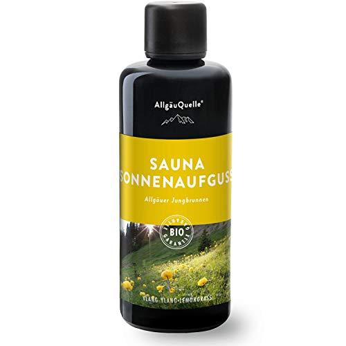 AllgäuQuelle Saunaaufguss mit 100% BIO-Öle | Allgäuer Jungbrunnen mit Saunaduft Ylang-Ylang und Lemongrass (100ml) | Sauna Aufgussmittel ideal als Sauna Zubehör und Sauna Geschenkset