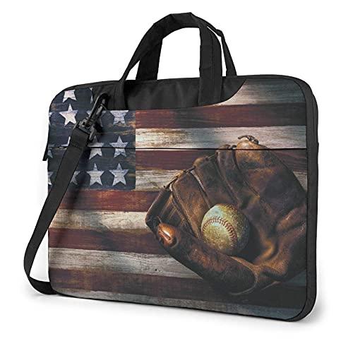Bolsa para portátil de 13-15,6 Pulgadas Bandera de béisbol de EE. UU. Bolso de Hombro para portátil Bolso de Hombro Elegante Ordenador Portátil