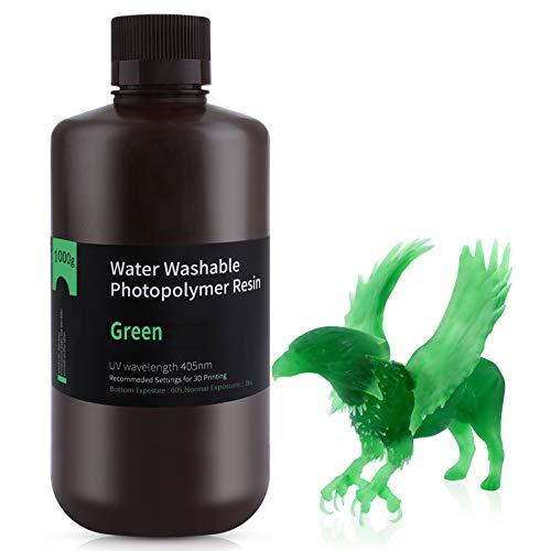 ELEGOO 405nm Wasser Waschbares Resin, 3D Drucker Rapid Resin für LCD/DLP UV Härtung Photopolymer 3D Drucker, 1000g Klargrün