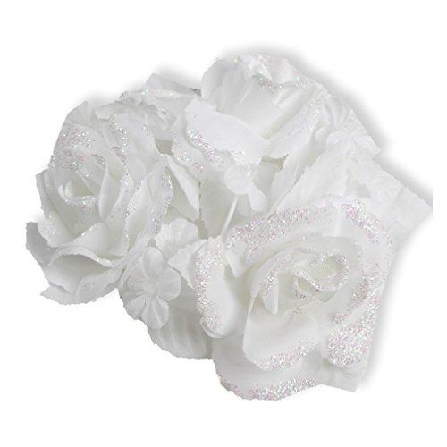 Kerzengesteck Kerzenschmuck Gesteck für Stabkerze weiß 25 mm Deko für Kerze Taufe Hochzeit Kommunion Feier