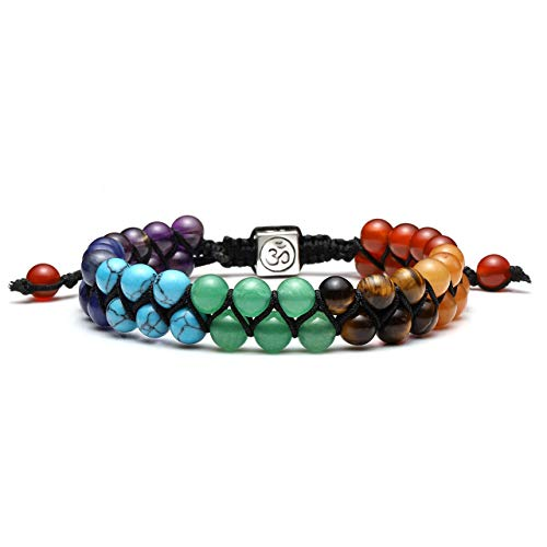 JSDDE 7 Chakra Healing Crystals Bracelet Womens Reiki Stone Rope Braided Gemstone Bracelet for Yoga Meditation Anxiety Relief