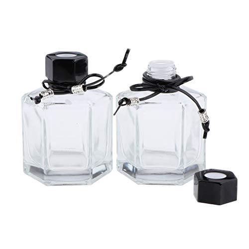 Fenteer 2pcs 100ml Flacon Diffuseur En Verre Vide De Parfum Bouteilles Pots Pour Parfum D'huile Essentielle DIY de Dormir - Noir