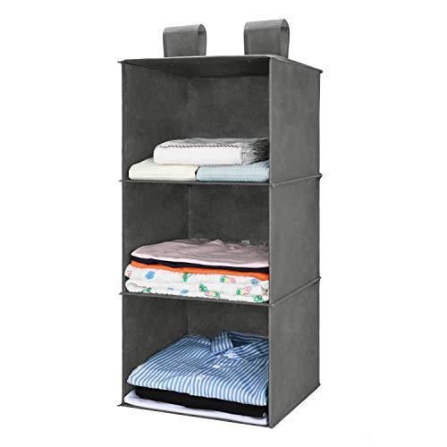 MaidMAX 3-Shelf Organizer Armadio, Portatutto da Appendere per Armadio in Tessuto, Scomparti per Armadio per Abbigliamento, Maglioni, Bagagli, Accessori, Organizzatore Pensile Colore Grigio