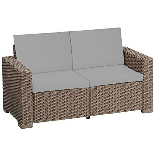 Keter Garden Furniture 2 3 4 Seater Rattan Patio Set Allibert Lounger Set Sofa Chairs Replacement Cushion Pads (4 PC Grey 2 Seater)