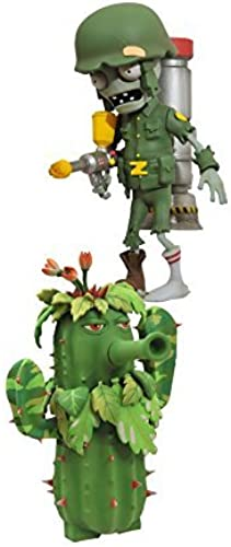 Diamond Select Toys Plants vs. Zombies  Garden Warfare  Soldier Zombie with Commando Head and Ghillie-Kaktus with Potato Mine Select Aktion Figur (2-pack) by Diamond Select