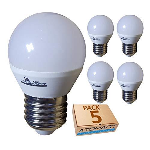 Pack 5x Bombilla LED G45 7w. Color Blanco Calido (3000K). 680 lumenes, rosca E27, (equivalente 75w tradicional). A++