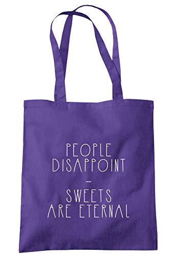 illustratedidentity Einkaufstasche mit langen Henkeln, Motiv: People Disappoint Sweets Are Eternal (englischsprachig), 37,5 x 42 cm, Violett - violett - Größe: Einheitsgröße