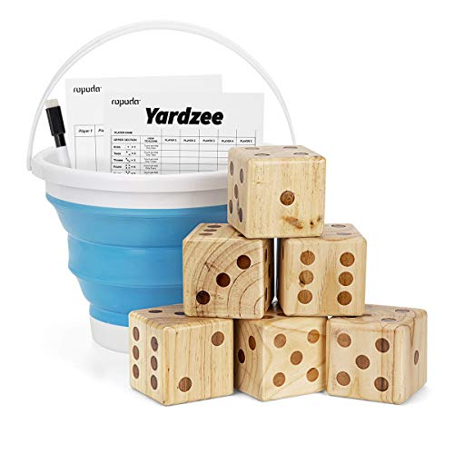 ROPODA Giant Wooden Yard Dice Set for Outdoor Fun, Barbeque, Picnic, Tailgating Games, Party Events, Lawn Games Includes 6 Dice, Collapsible Bucket, Score Cards & Dry Erase Marker