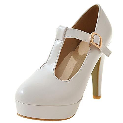 Dieenia Mujer Elegante Tacón Alto Zapatos T Strap Tacón Embudo Mary Jane Zapatos Plataforma Noche Zapatos Blanco 46 EU/48CN