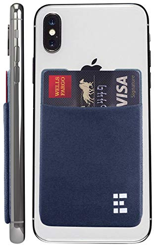 Cell Phone Credit Card Holder Stick On Wallet Case w/RFID Blocking (Ocean)
