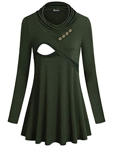 Quinee Damen Kapuzenpullover, doppellagig, Still-Tunika, Sweatshirt -  Grün -  X-Groß