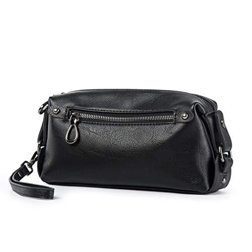 Hebetag PU Leather Soft Clutch Purse Long Wallet for Men Wristlet Organizer Pack Phone Wrist Bag Travel Business Handbag Black