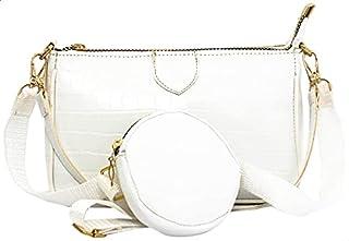 شنطة كروس جلد صناعي منقوش بسوستة مع محفظة دائرية قابلة للفصل للنساء من جليتر - ابيض