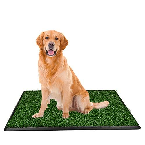 Hundetoilette Welpentoilette mit Kunstrasen, Hundetoilette Welpentoilette Welpentoilette Trainingsmatte mit Urinierschutz Simulationswand für kleine ältere Hunde (51x76cm)