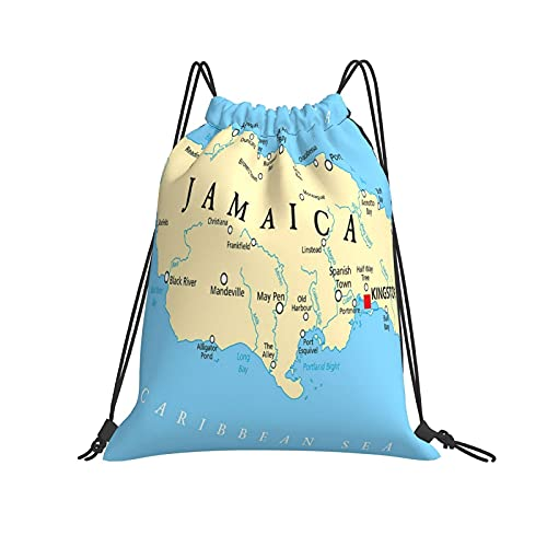 Capital De Jamaica Mapa Mochila con cordón Original Bolsas para Gimnasio Senderismo Viajes Playa