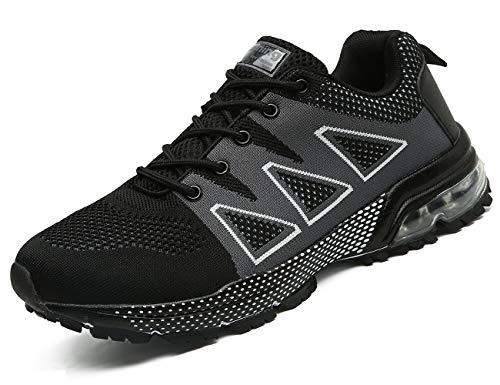 tqgold Sportschuhe Herren Damen Laufschuhe Turnschuhe AIR Sneakers Leichte Schuhe Schwarz,Größe 38