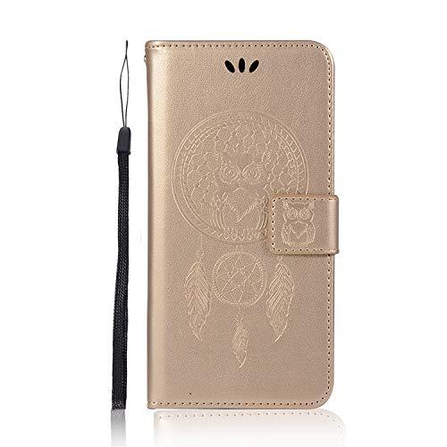 JZ Owl Wallet Funda For para iPhone 8 Plus / 7 Plus [Kickstand][Wrist Strap] Flip Cover - Gold