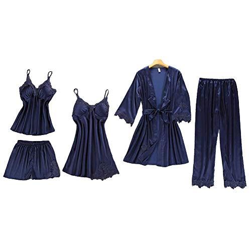Chongmu Mujeres Pijamas Sexy Encaje Satinado Ropa de Dormir Seda Conjunto de Bata de Hogar 5 Piezas Camisón Cuello en V