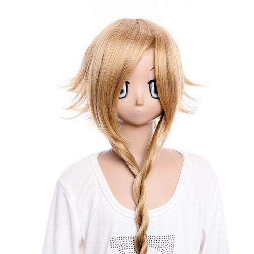 GOOACTION Women Long Anime Straight Light Brown Braid and Fluffy Layered Back Part Wig for Soul Eater Medusa Halloween Cosplay Party Synthetic Hair Wigs