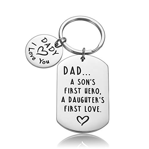 Dad Fathers Day Gif from Daughter Son I Love you Birthday Valentines Day Keychain Gifts for Dady Grandpa Men Dad A Son's First Hero, A Daughter's First Love Christmas Keyring