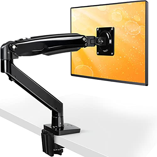 """ErGear 22-35"""" Premium Single Monitor Stand Mount w/USB, Ultrawide Computer Screen Desk Mount w/Full Motion Gas Spring Arm, Height/Tilt/Swivel/Rotation Adjustable, Holds from 6.6lbs to 26.5lbs"""