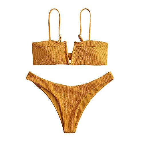 ZAFUL Zweiteilige Bikini Set, gepolsterter Bandeanzug mit Rückenschnürung V-Ausschnitt einfarbige Badebekleidung für Damen (Gelb, S)